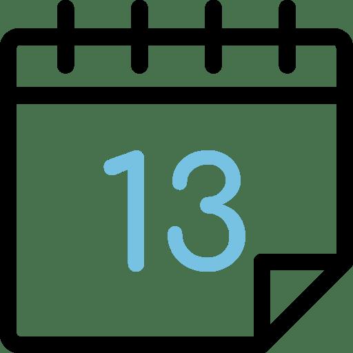 Calendario con número 13