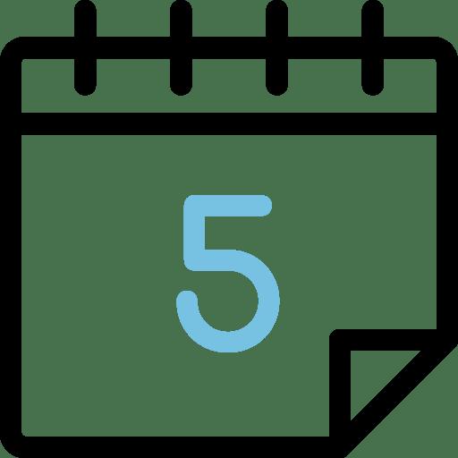 Calendario con el número 5