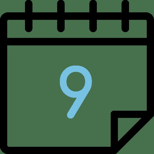 Calendario con el número 9