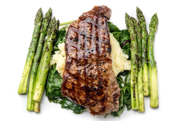 plato de carne con espárragos