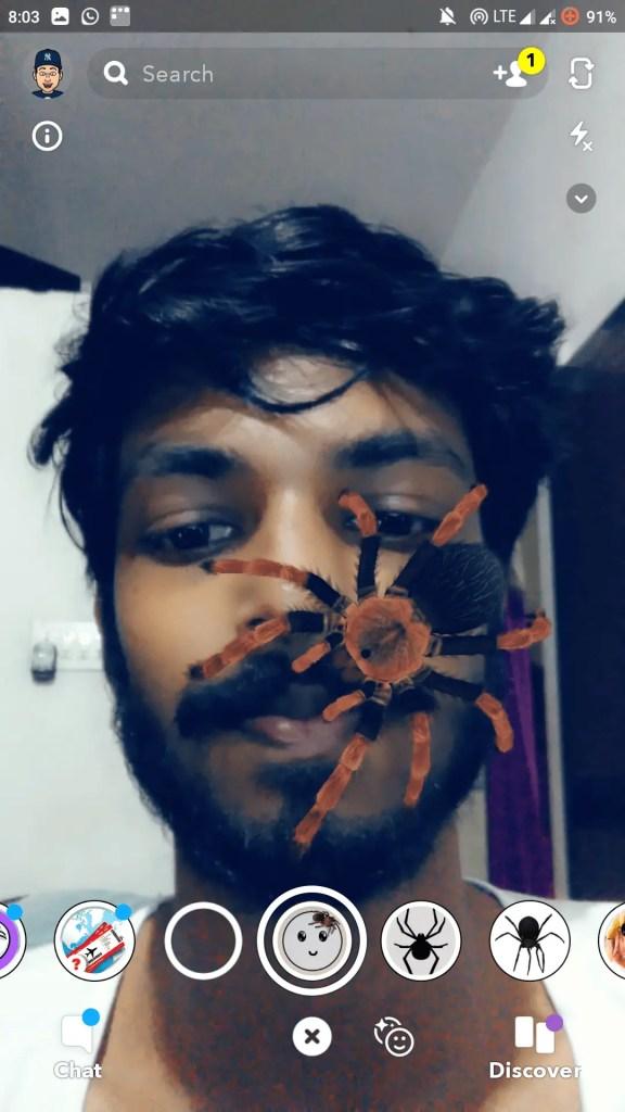 spider filter snapchat