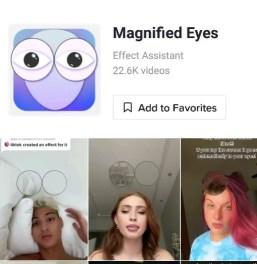 magnified eyes glass filter tiktok