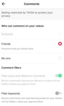 filter comments on tiktok video
