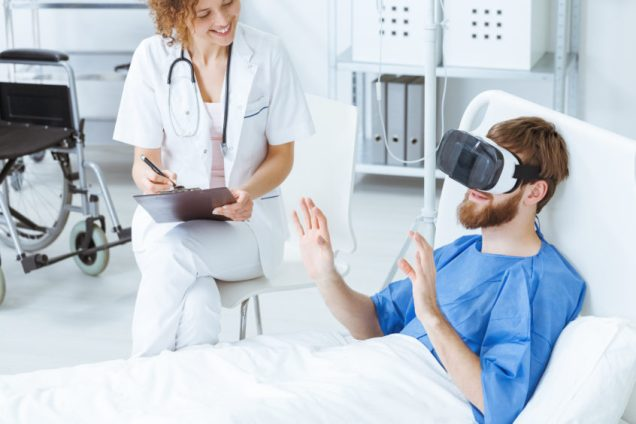 Man in VR during therapy