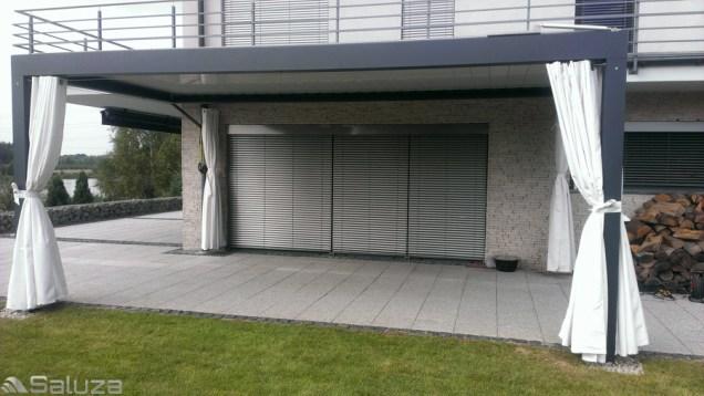 Ekskluzywna pergola bioclimatic aluminiowa biala, konstrukcja ral 9007 z firanami, oswiecim - saluza.eu