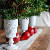 Never Underestimate: $3 Milk Glass Centerpiece
