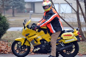 motorcyclist in winter