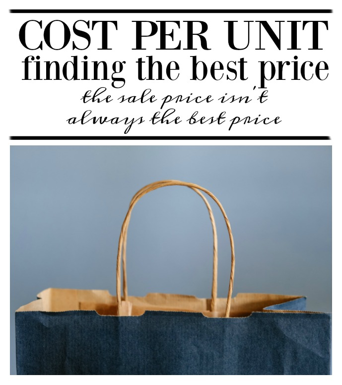 How to find the best price while shopping at the store.  The sale price isn't always the best price.  Simple calculation to look for when shopping for a bargain. on salvagesisterandmister.com