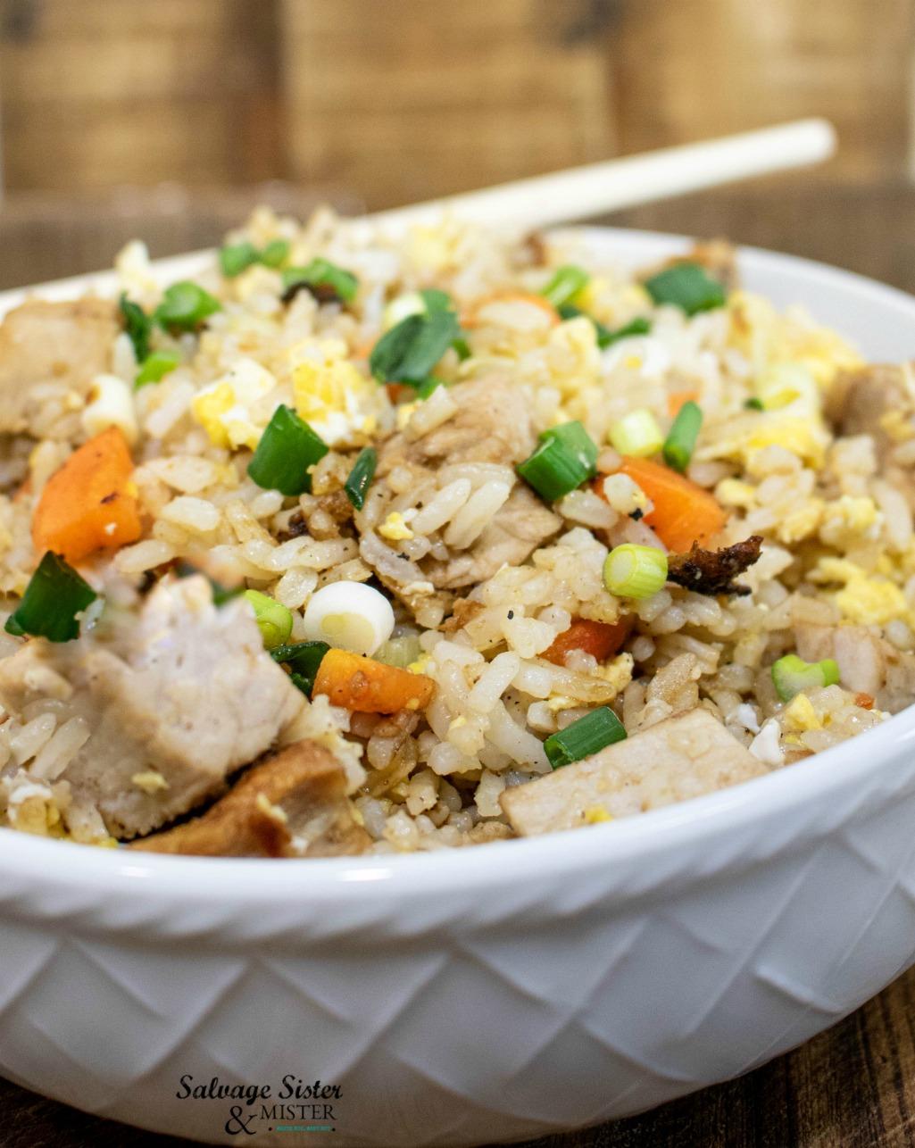 pork fried rice using leftovers on salvagesisterandmister.com