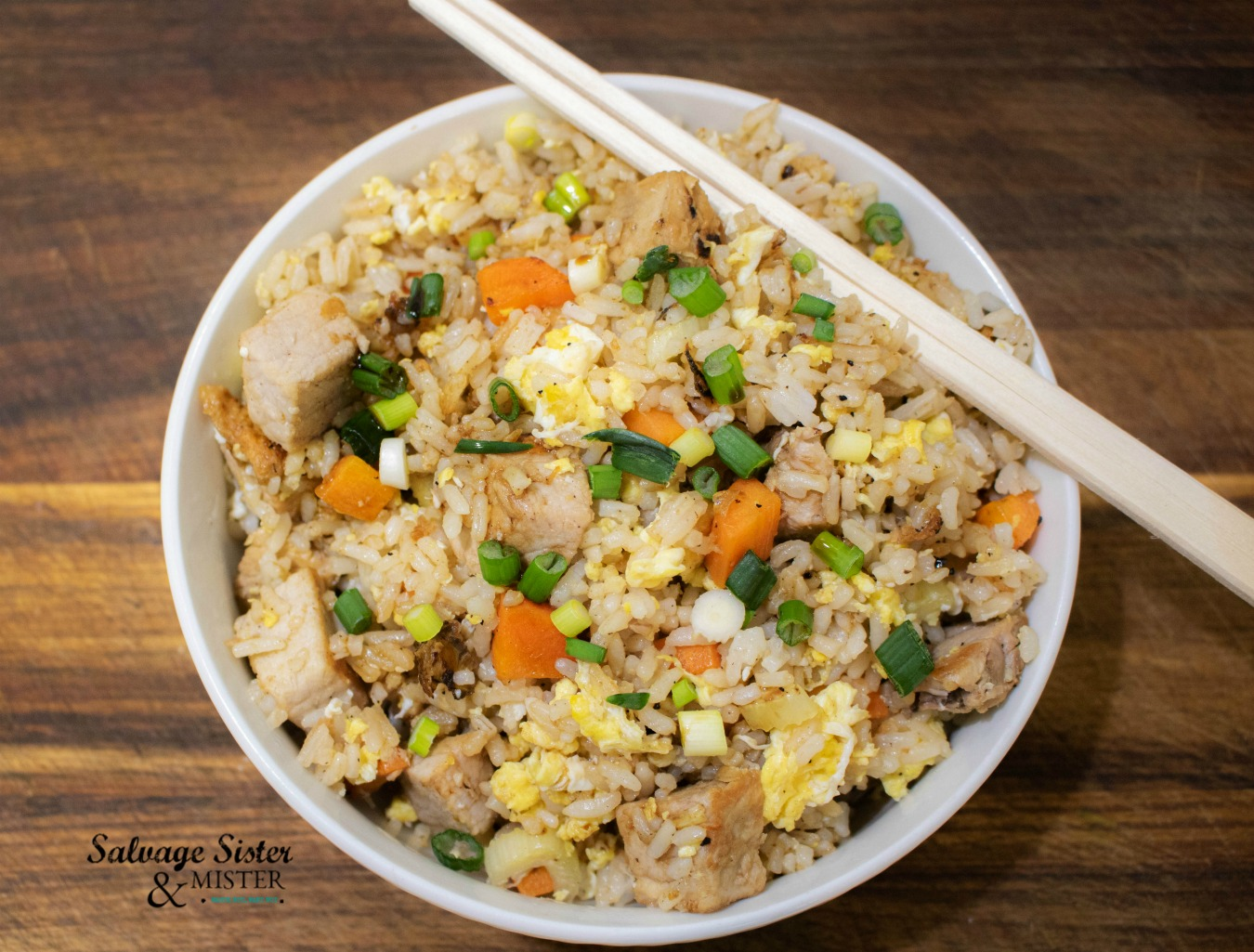 Pork fried rice using last nights leftovers. This is a perfect way to use up leftover rice. Find recipe on salvagesisterandmister.com