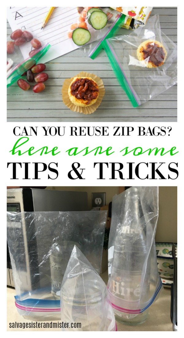 Can you reuse zip bags?  Here are some tips and tricks to making the most of those ziplock bags.  Waste not, want not.  Frugal ways on salvagesisterandmister.com