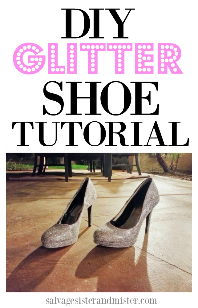 Trasform trift store heels into Cinderella slippers with this DIY glitter shoe tutorial.  Fun project to do an one afternoon.  Customize as you like.  Find this post on salvagesisterandmister.com