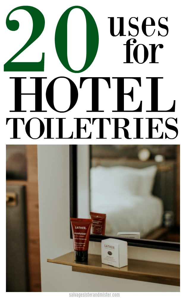 No matter if you have a few smaples leftover from a hotel stay or just some products that you have a little left in the bottle, here are 20 uses for hotel toiletries to make the best use of what is left.  Waste not, want not.  Find the details on salvagesisterandmister.com