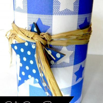 can with craft paper and tag