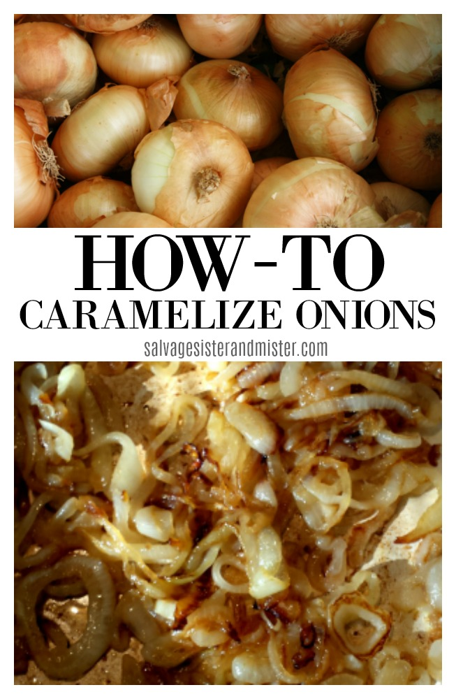 Learn how to caramelize onions -- basic kitchen tips.  Get the sweetness of the onion through the caramellization process.  cooking 101 tips on salvagesisterandmister.com