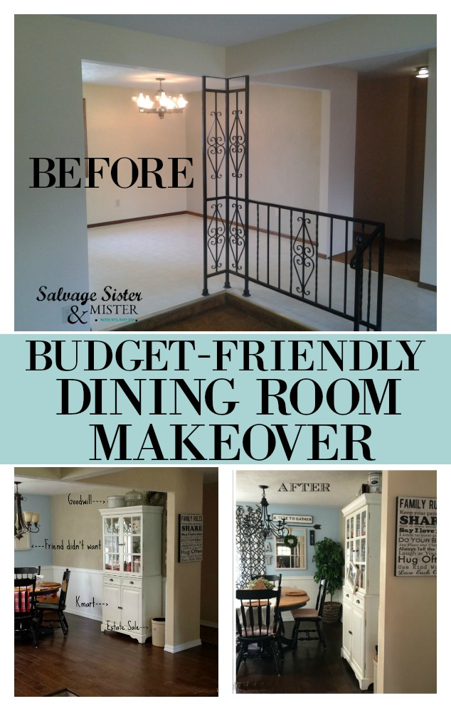 Using thrift store finds and diy projects here is our budget-friendly dining room makeover. Come see what we used and how you can remodel your space on a dime. Find info on salvagesisterandmister.com