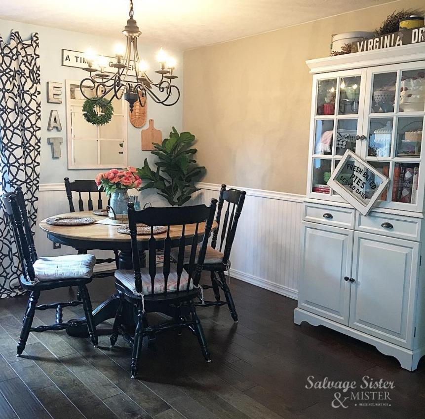 budget-friendly dining room makeover using thrift store items and some DIY projects - find info at salvagesisterandmister.com