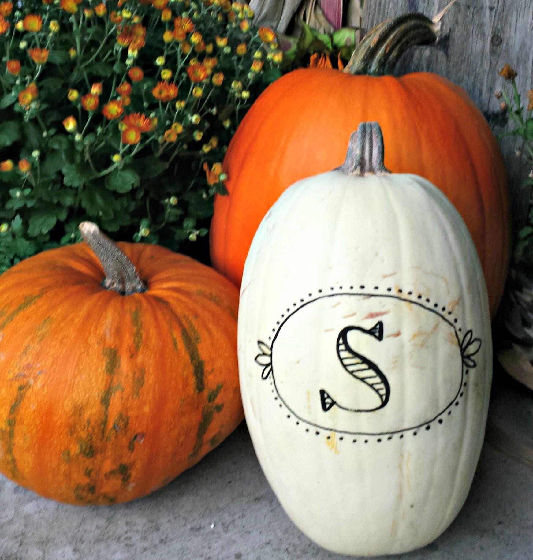 5 minute monogrammed pumpkin  on salvagesisterandmister.com