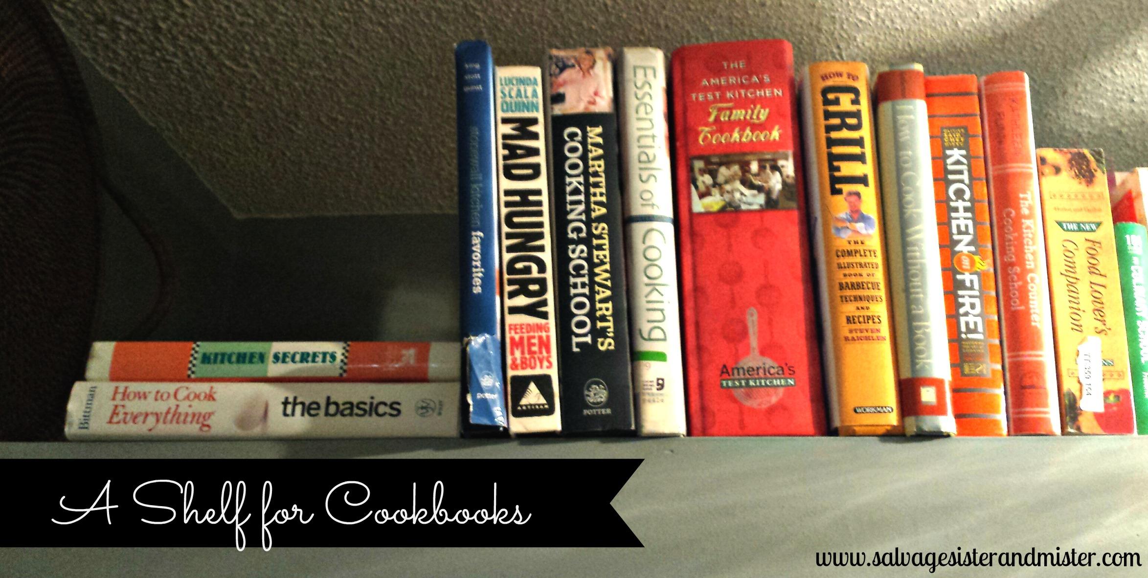 a shelf for COOKBOOKS