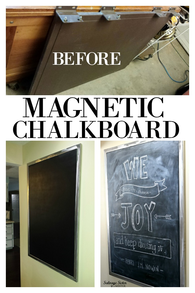 Turning a panel from the ReStore into a diy magnetic chalkbaord for $8.  This budget-friendly project just goes to show you can turn the discarded into something marvelous with just a little creativity and imagination. Get the full details on salvagesisterandmister.com home decor on a budget (upcycle it)