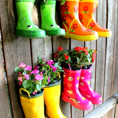 hanging rain boot planter
