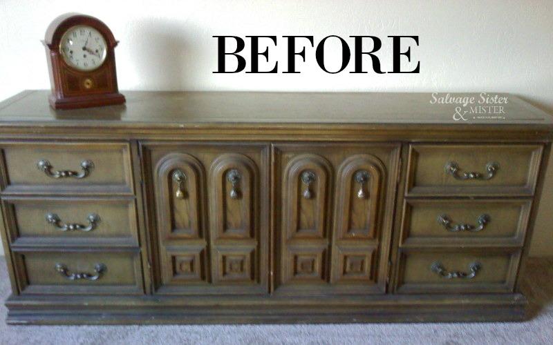 turning a dresser into a console salvagesisterandmister.com
