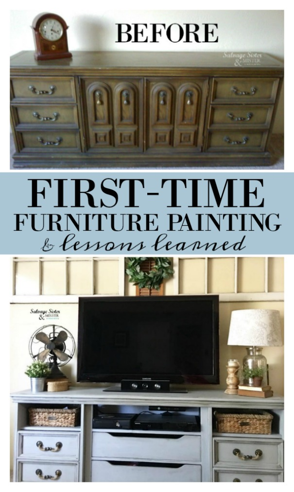 Turning a Goodwill dresser into a TV console.  This was my first-time furniture painting.  Now I have done more pieces and have lessons learned that I share.  Get the tutorial of this DIY project (and a great repurpose project) on salvagesisterandmister.com