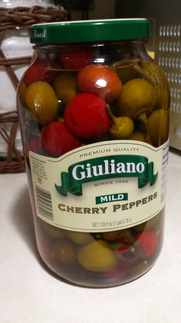 peppers in glass jar