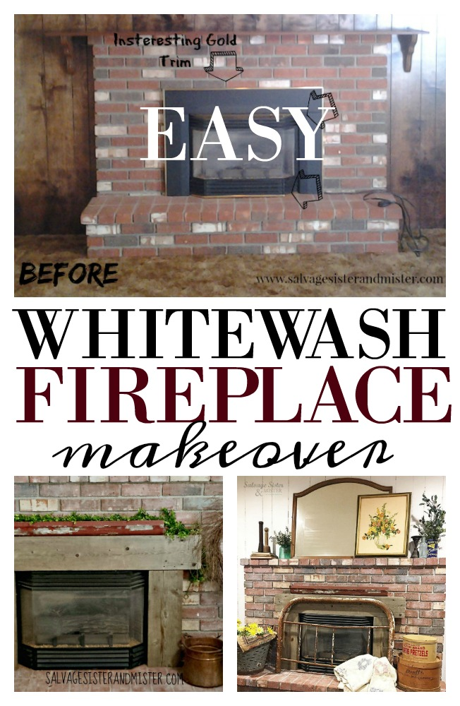 An easy whitewash fireplace diy project - you can do in one day.  Low cost alternative and a great way to soften darker brick without completely painting it.  Find this updated look on salvagesisterandmister.com