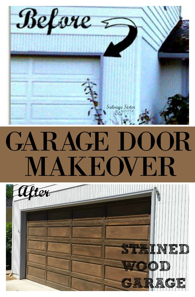 Our wood garage door had layers of paint on it.  Instead of buying a new door, we took to removing the paint and staining it to bring it back to life.  This DIY project took time but was so worth it and increased our homes value and curb appeal.  Get the DIY info here on salvagesisterandmister.com