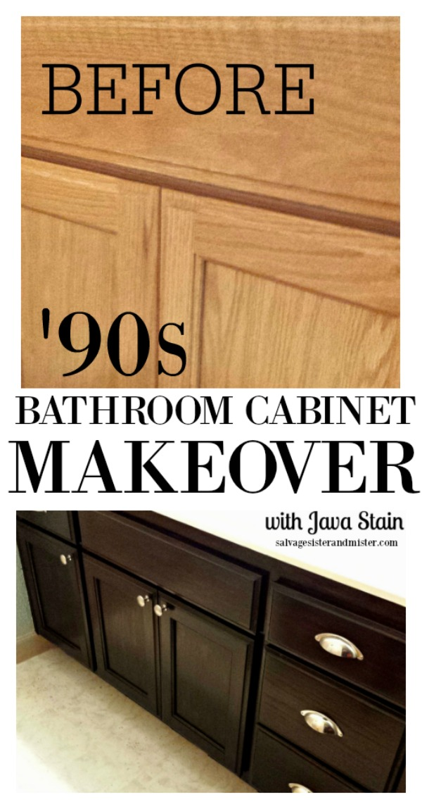 Updating '90s honey cabinets using a thick stain. this is so easy to do. The hardest part is waiting before each coat. Get the details of this diy bathroom cabinet makeover on salvagesisterandmister.com (budget-friendly)