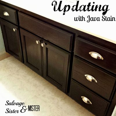 painted bathroom cabinet with java stain
