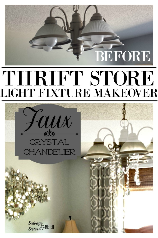 thrift store transformation - faux crystal chandelier. This ReStore light fixture was five dollars.  Added some crystals and made it fancy.  Get the details on what was used at salvagesisterandmister.com