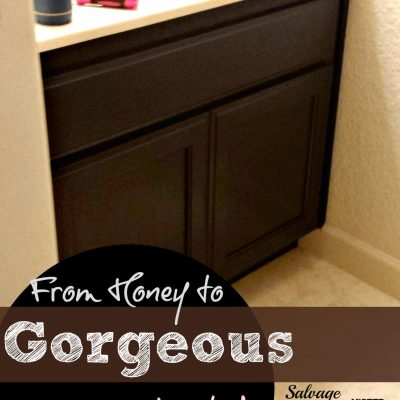 bathroom cabinet painted with java stain
