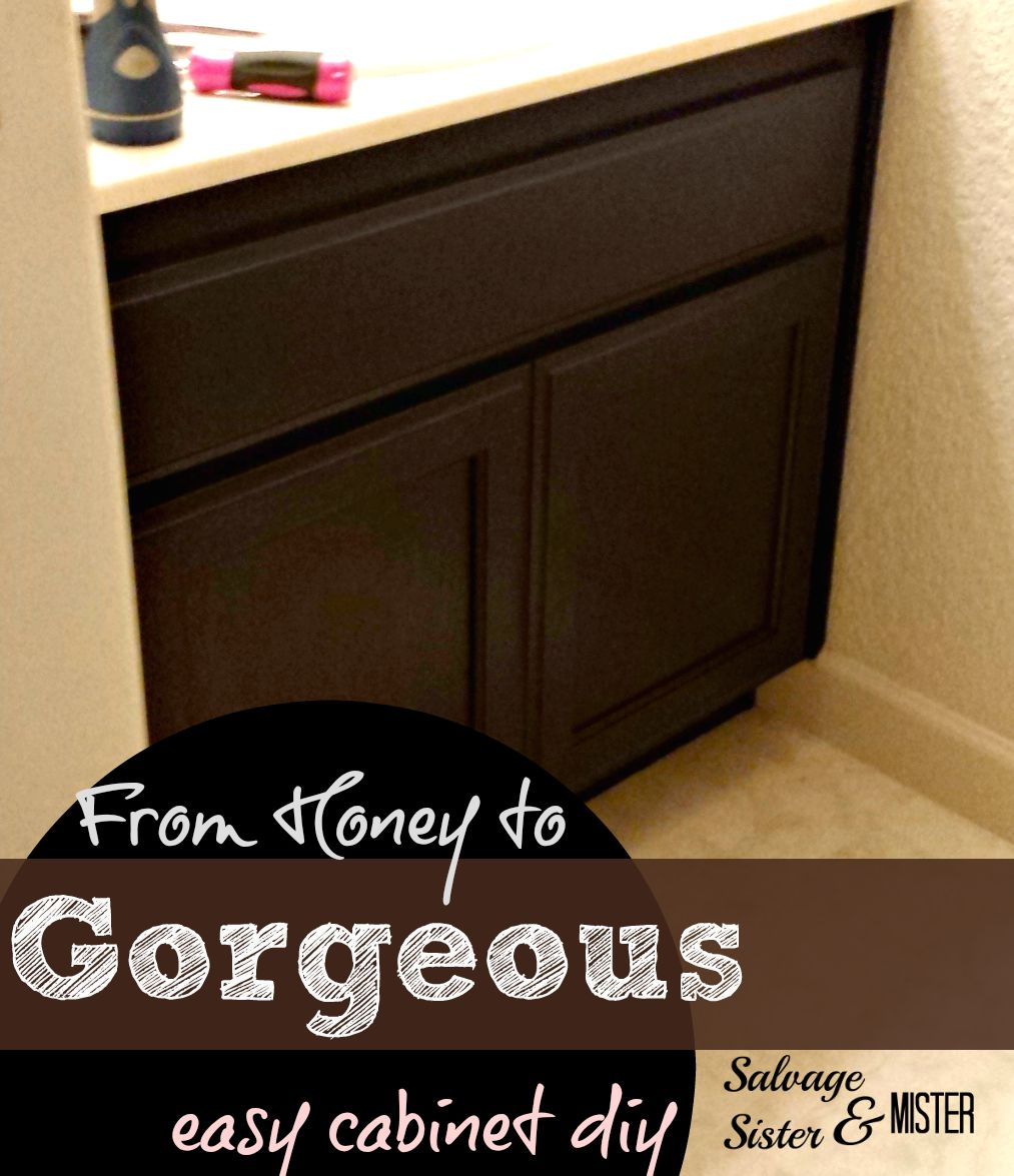 Want to change up the honey cabinets? Easy stain DIY. www.salvagesisterandmister.com