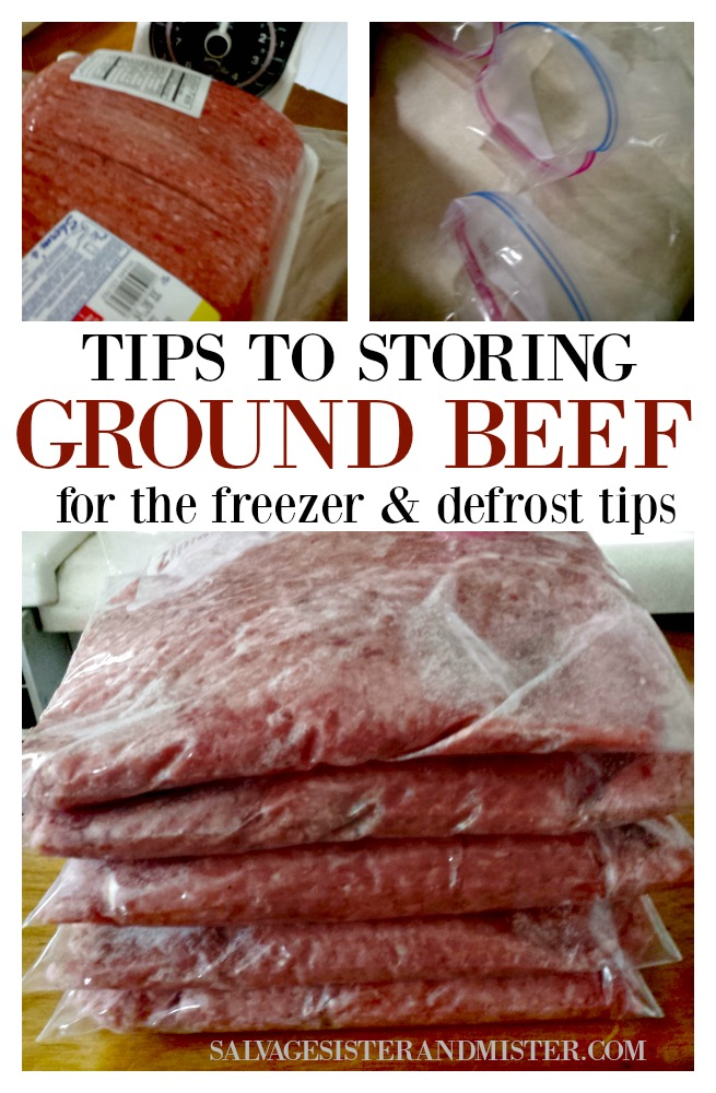 Tips for storing ground beef in the freezer and defrost tips.  Also, some tips on purchasing beef at the store and label reading.  Find these kitchen tips and more at salvagesisterandmister.com (food preserving)