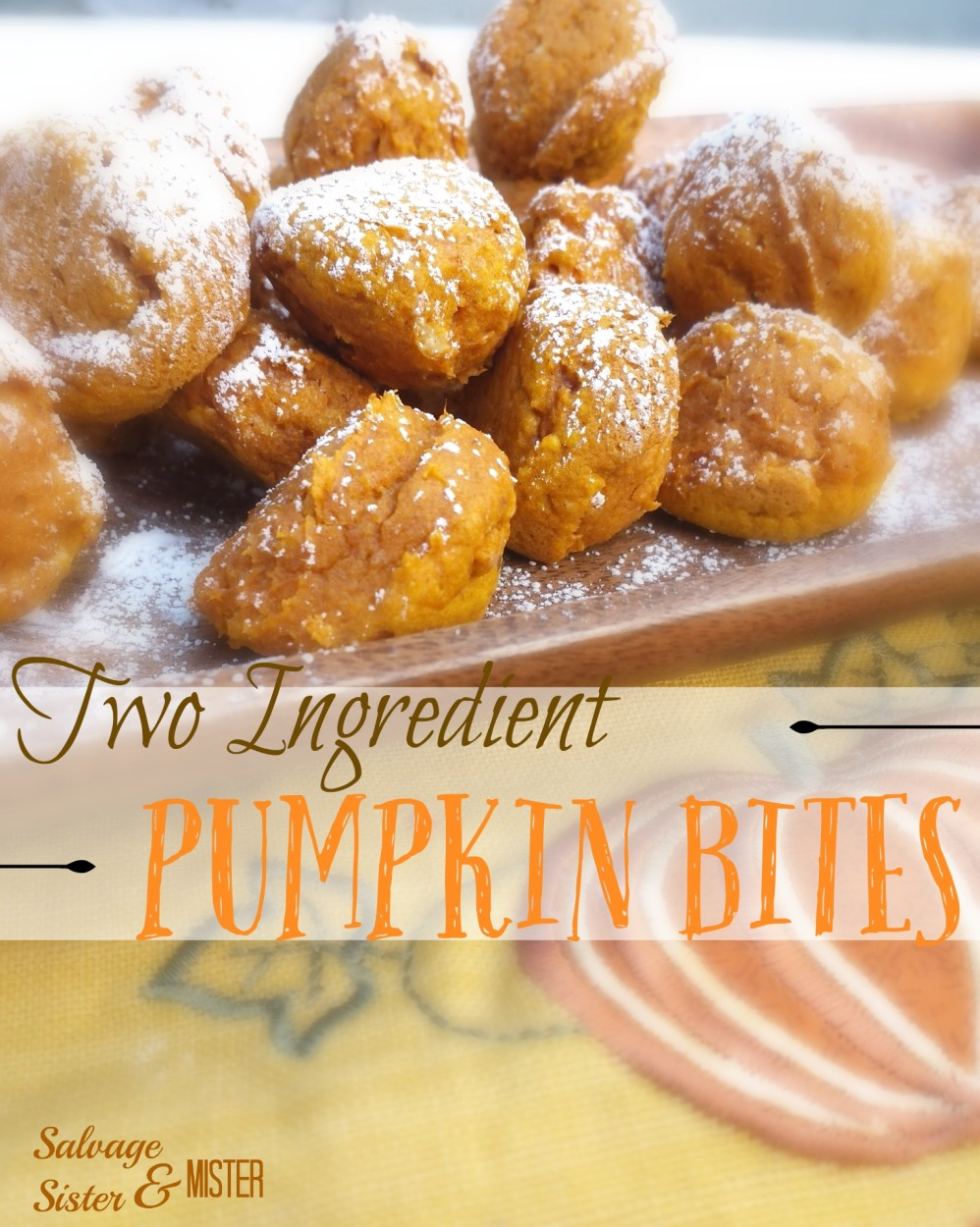 Need a quick pumpkin treat?  These TWO INGREDIENT PUMPKIN BITES will do the trick.  REALLY two ingreedients!!!  Quick and easy recipe.  Great for Halloween or Thanksgiving.  You can use this to use up leftover pumpkin puree too.  Quick recipe.  Kid recipe.