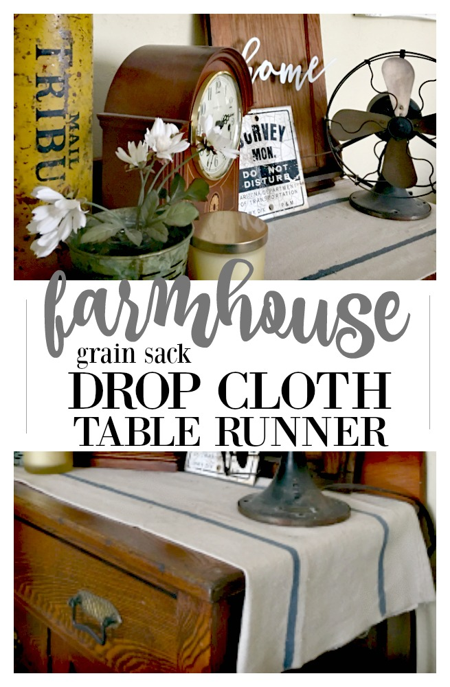 DIY farmhouse drop cloth table runner made from leftover material.  This super simple project uses few supplies and most of what you already have on hand.  Budget-friendly home decor/  This tutorial is found on salvagesisterandmister.com