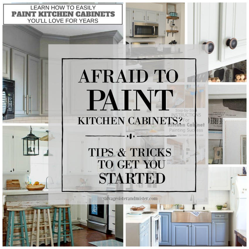 Afriad to paint kitchen cabinets? Here is some inspiration and some step-by-step guides and tutorials to get you started. Have no fear, salvage sister is here. No matter what color you want to paint or the type of paint you want to use, there is a way to makeover those cabinets in no time. Get the information at salvagesisterandmsiter.com to get started on your budget-friendly kitchen renovation today.