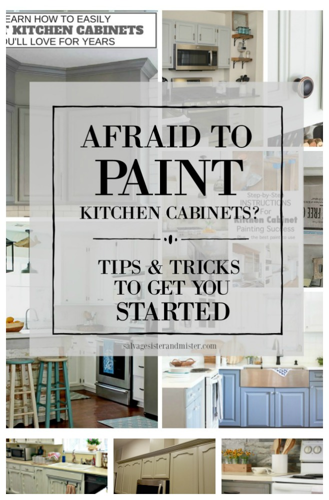 Are you afraid to paint kitchen cabinets? We did ours (and share some mistakes) plus we share step-by-step guides, colors used, and tips to make the process go easier. Learn different paints as well as how to. Painting cabinets is a budget-friendly home renovation so let's tackle this and make your kitchen look like new. Find this on salvagesisterandmister.com