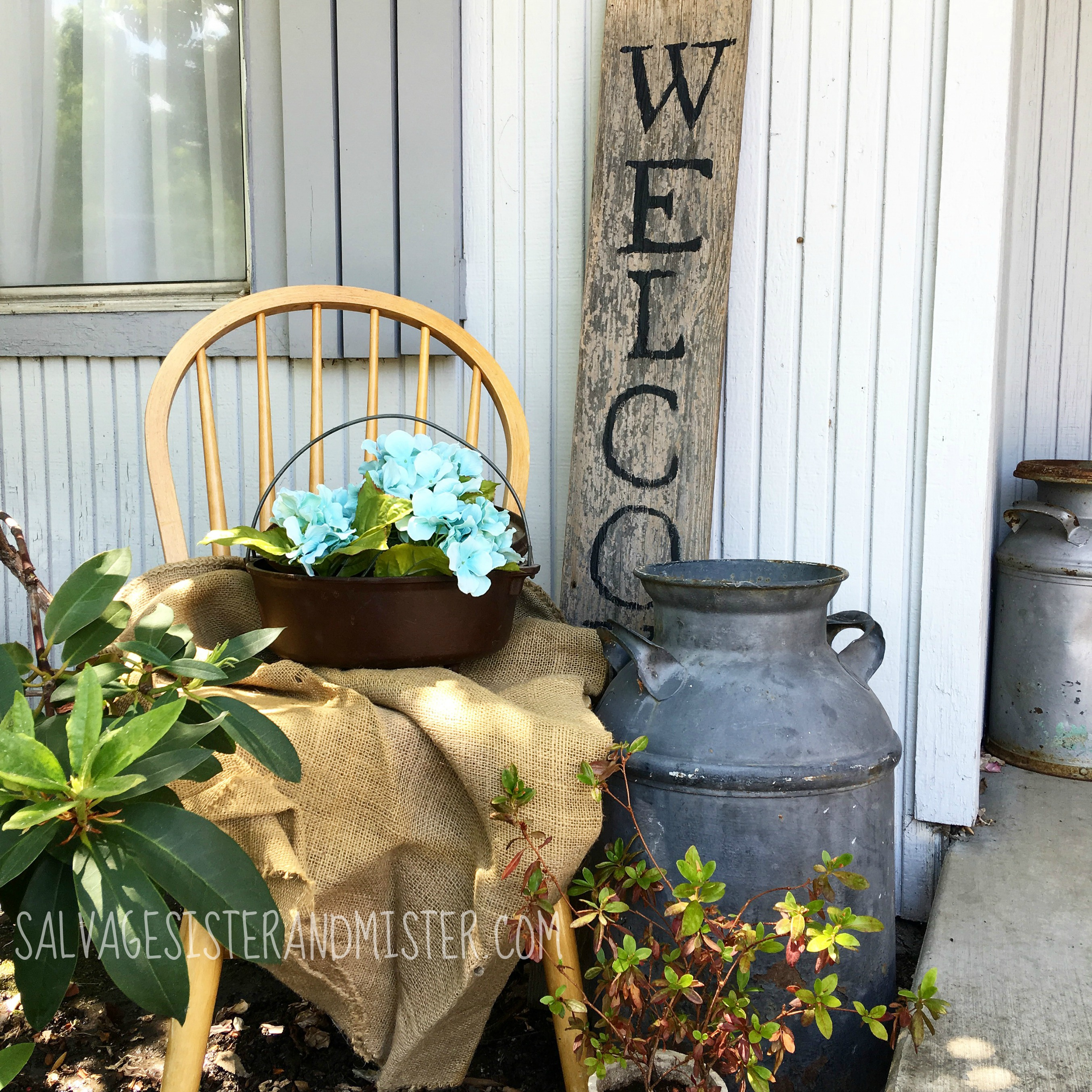 """DIY Salvaged Wood welcome sign for the front porch. This really is super simple and super inexpensive. Just a few """"junk"""" items make a nice welcome to any home exterior. This is just one of several salvaged wood projects."""