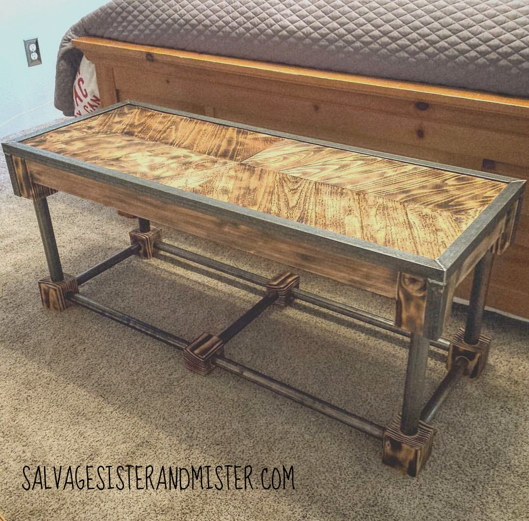 This bench was made with part salvaged wood and regualr wood. Bedroom decor. Diy Bench
