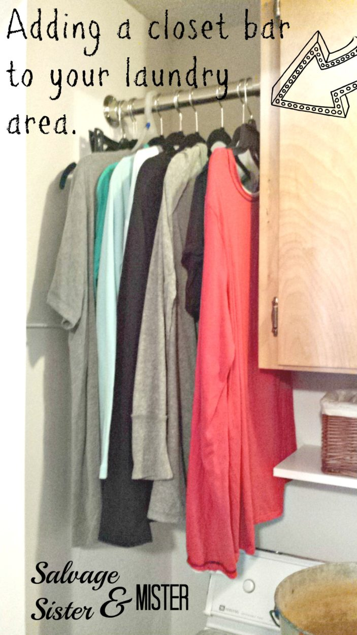 Installing a laundry bar for hanging clothes is just part of this budget laundery room makeover. This is an easy DIY that will allow you to hang your clothes fresh out of the washing machine or dryer. Just in case you don't want to use an iron like me.
