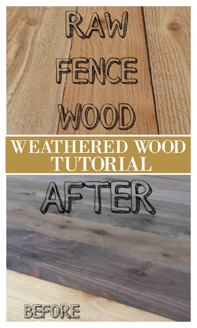 How to turn new wood like fence boards into something old looking. Here is what we used to give these boards a weathered look. Great for coastal farmhouse look or use it to create a faux reclaimed wood look. Get this full diy tutorial on salvagesisterandmister.com (budget-freindly)