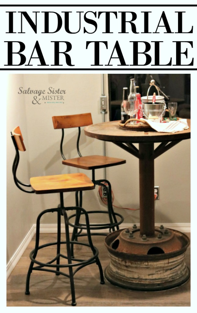 Turning a manhole cover into an industrial bar table for a game room makeover.  This truly is a statement piece.  Great for a man cave.  Upcycle home decor on salvagesisterandmister.com
