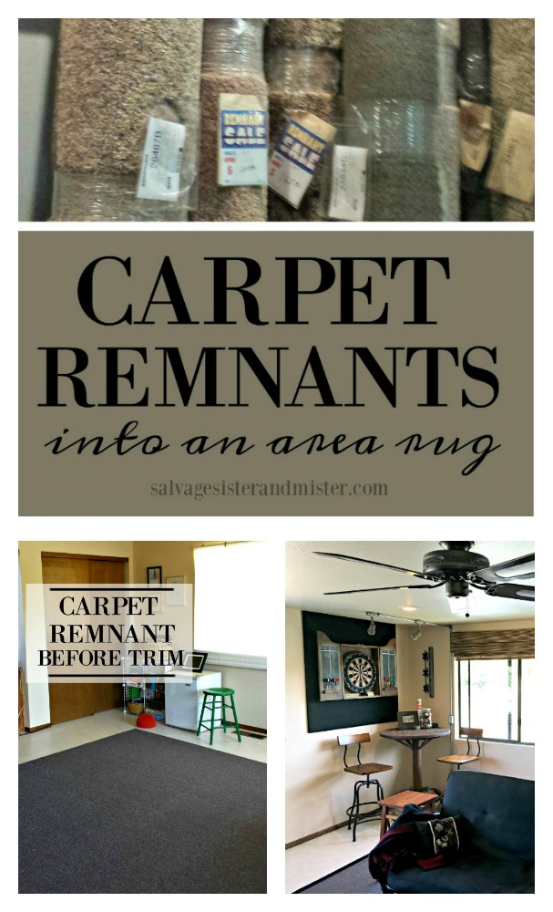 When you need a large area rug, here is a cheaper alternative.  Find out how we created the boarder. This is a budget-friendly diy home decor project that we completed for the our game room makeover (room above the garage) tutorial is found on salvagesisterandmister.com