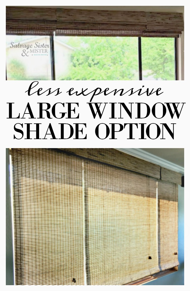 What do you do when they say you need a custom shade for your large window?  Large window shade are expensive.  Here is our less expensive option to shade that large window on a budget.  Get details on salvagesisterandmister.com