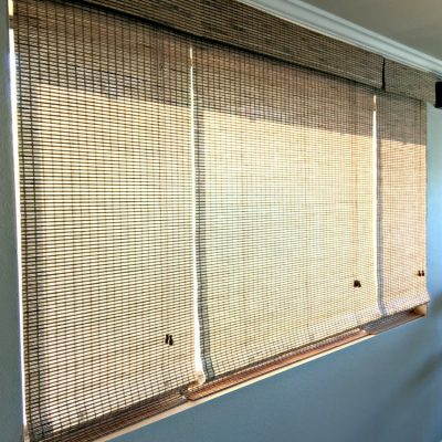 less expensive window shade option for a large window on salvagesisterandmister.com