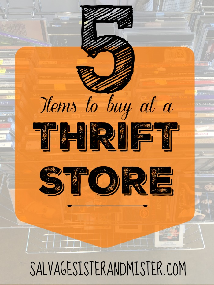 There are some basic items that are obvious finds at a thrift store and then there are maybe not so obvious items to get. here are 5 items to pick up the next time you visit your local thrift store. Plus some bonus info. Next time you are out junkin don't forget to look for these items to reuse. Great way to save a dollar or two.