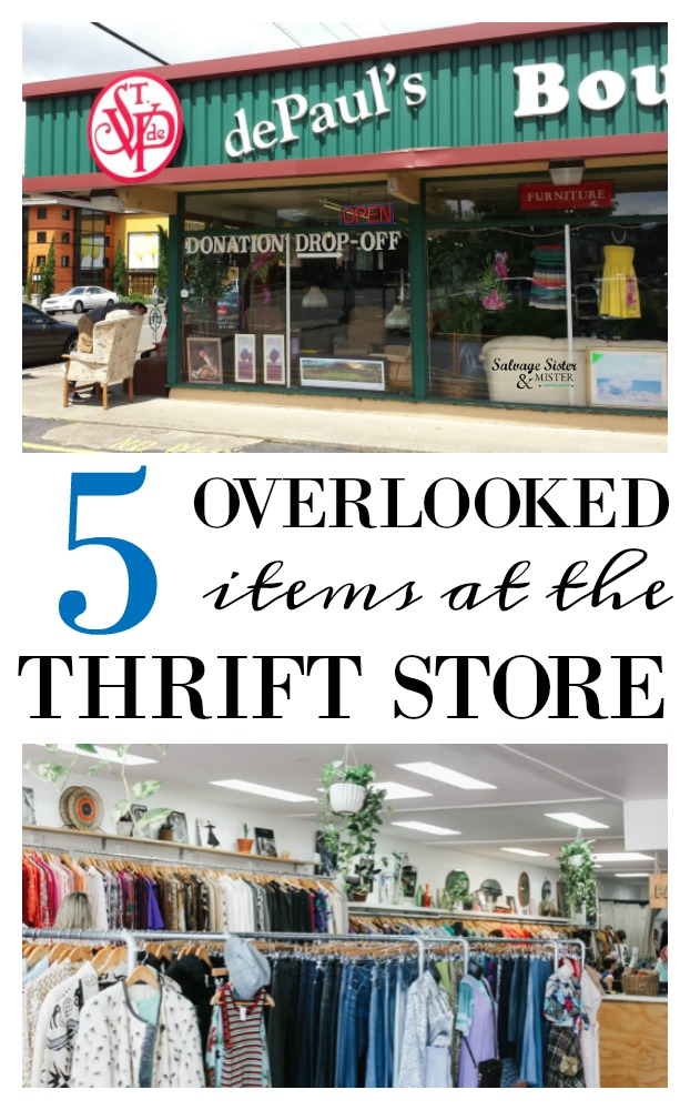 Do you love thrifting? Here are 5 often overlooked items or area at a thrift store..plus bonus tips. I love finding thrift bargains. Come check out some of the things I hunt for when shopping at my local thrift store. Get the tips at salvagesisterandmister.com